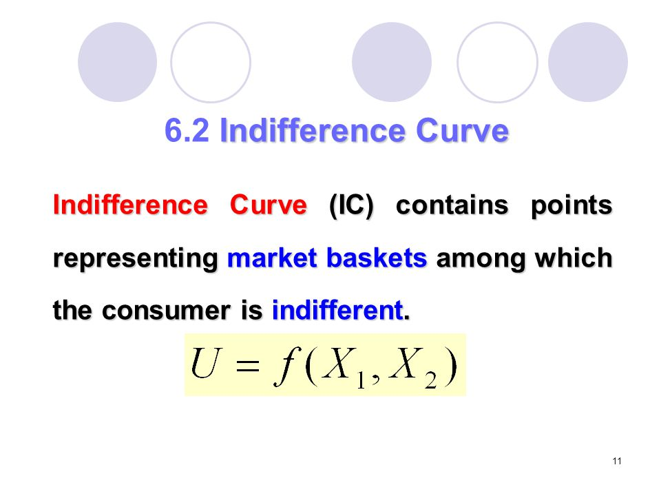 6.2 Indifference Curve Indifference Curve (IC) contains points representing market baskets among which the consumer is indifferent.