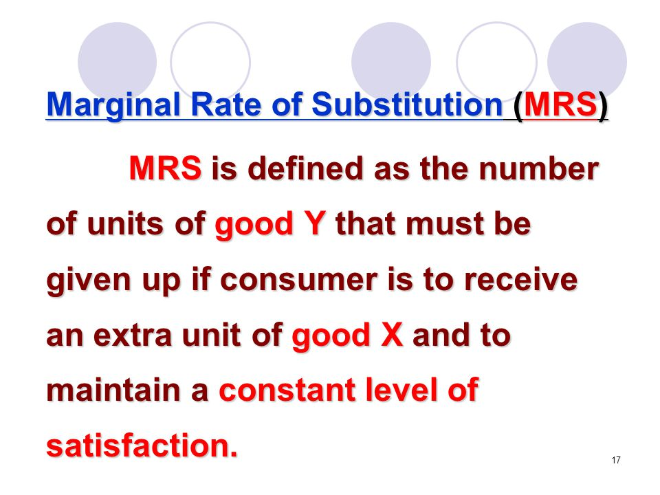 Marginal Rate of Substitution (MRS)