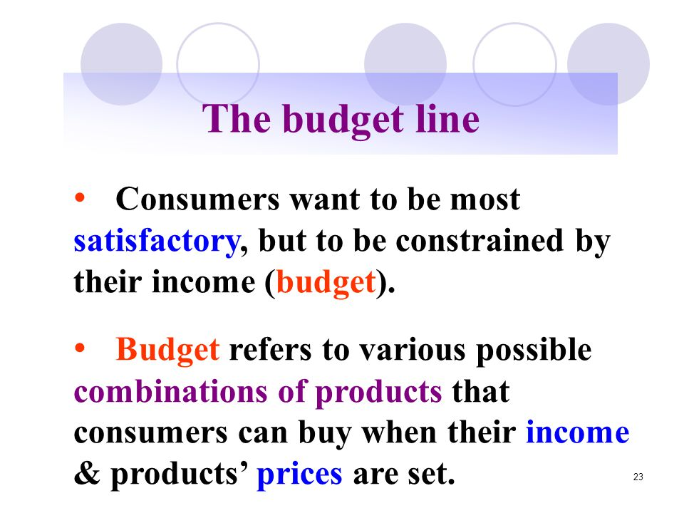 The budget line Consumers want to be most satisfactory, but to be constrained by their income (budget).