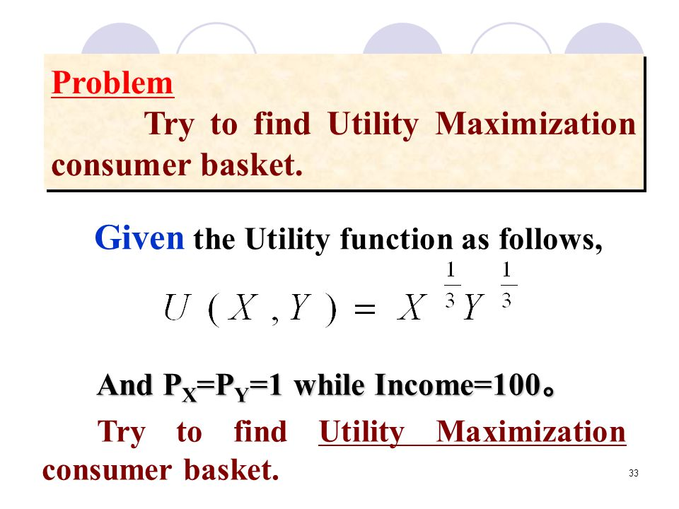 Given the Utility function as follows,