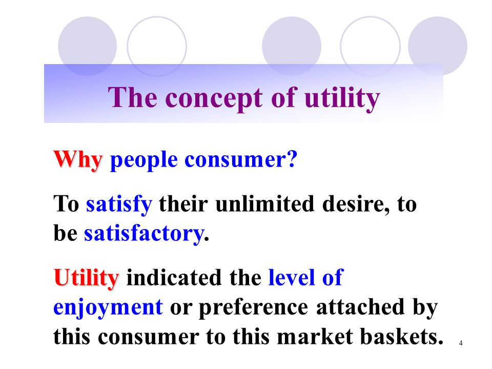 The concept of utility Why people consumer
