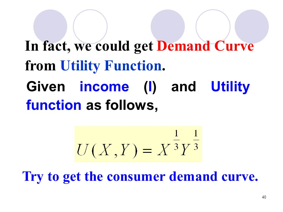 In fact, we could get Demand Curve from Utility Function.