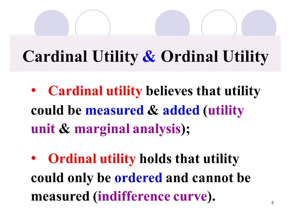 Cardinal Utility & Ordinal Utility