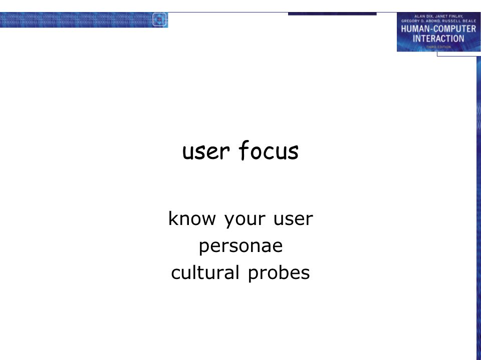 know your user personae cultural probes
