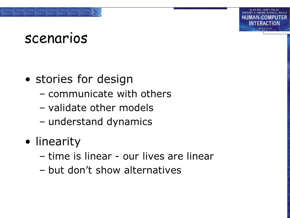 scenarios stories for design linearity communicate with others