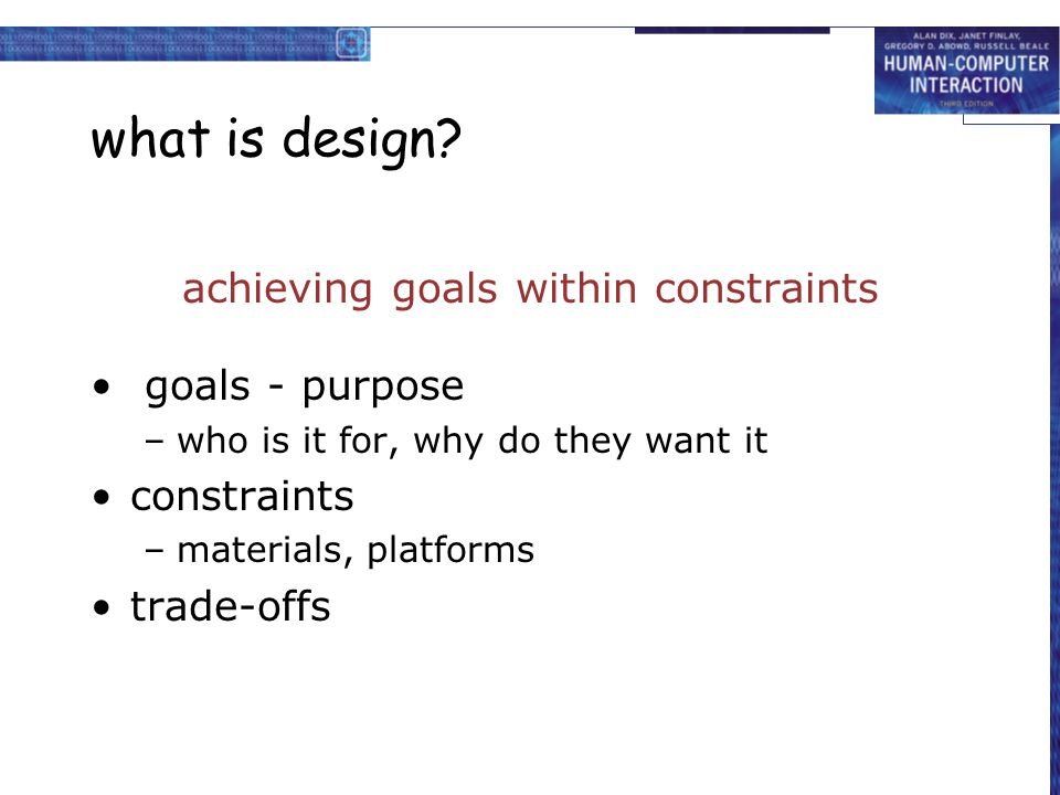 achieving goals within constraints