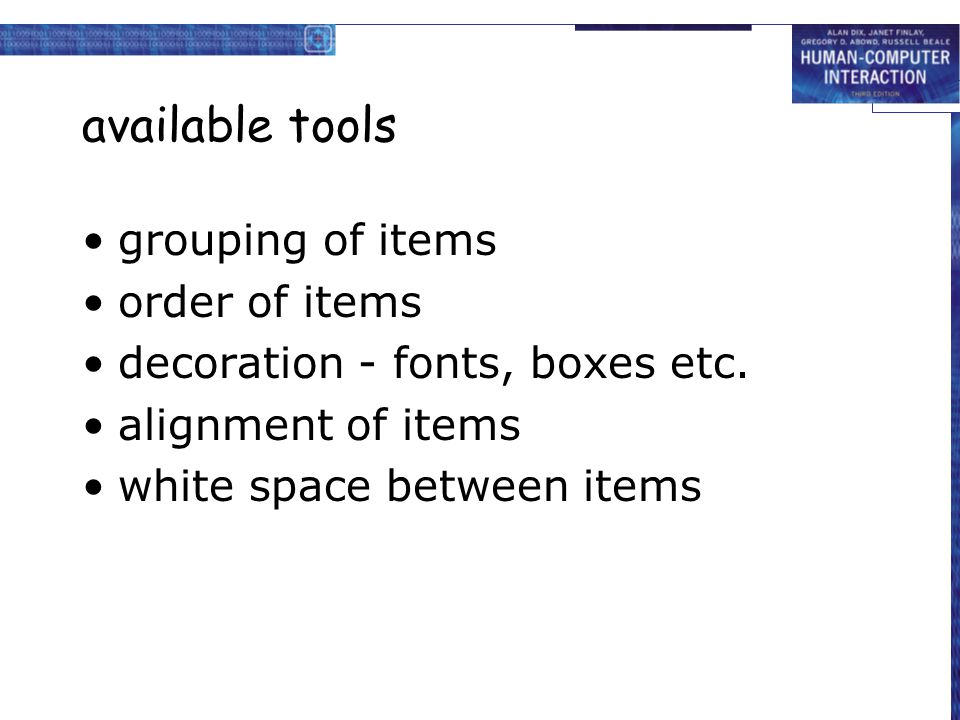 available tools grouping of items order of items