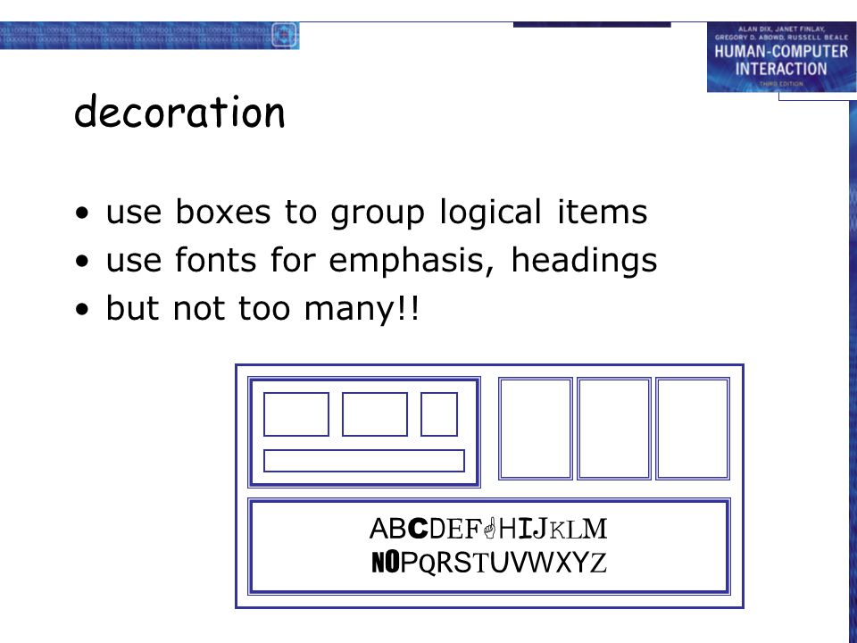 decoration use boxes to group logical items