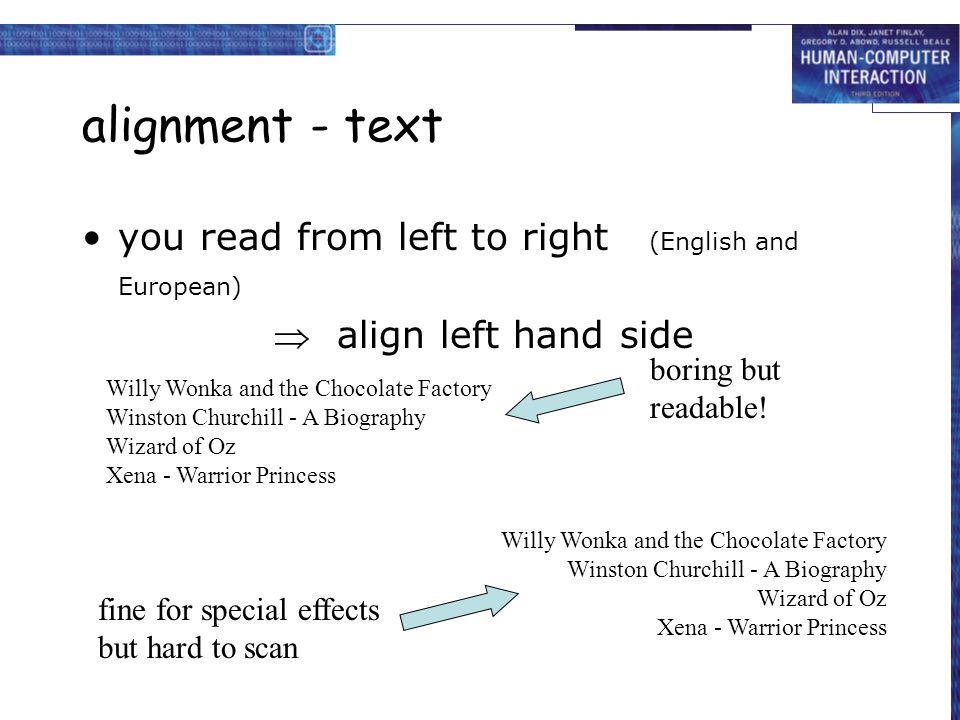 alignment - text you read from left to right (English and European)