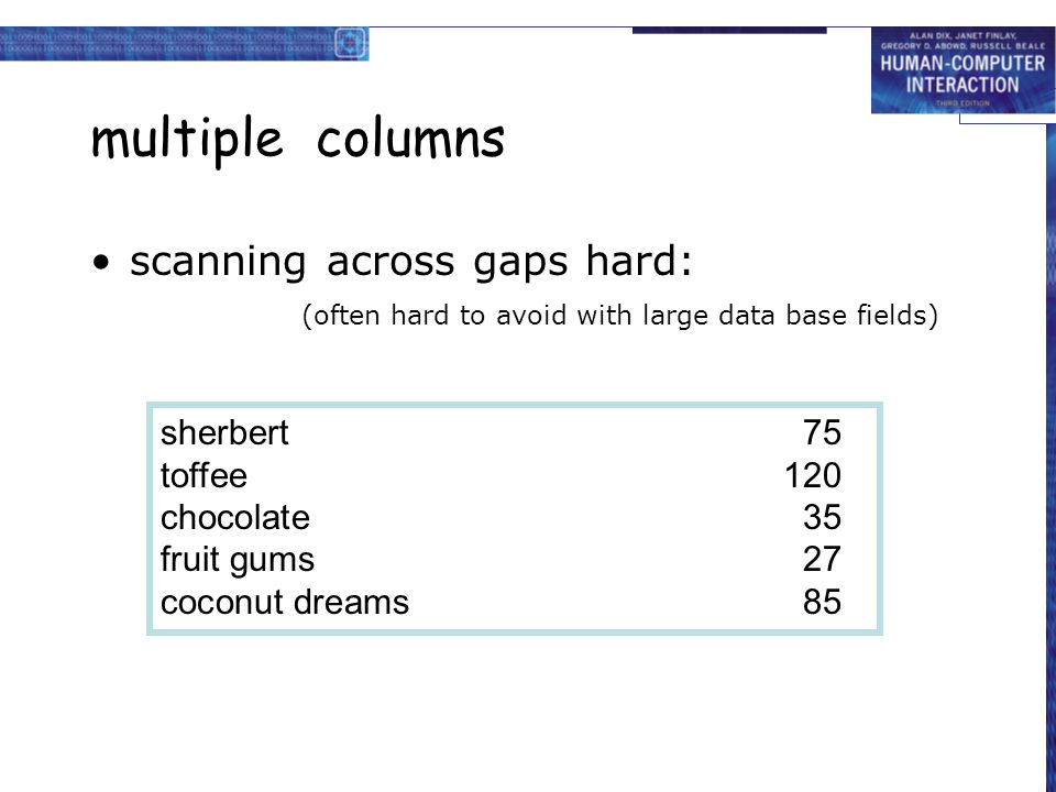 multiple columns scanning across gaps hard: (often hard to avoid with large data base fields)