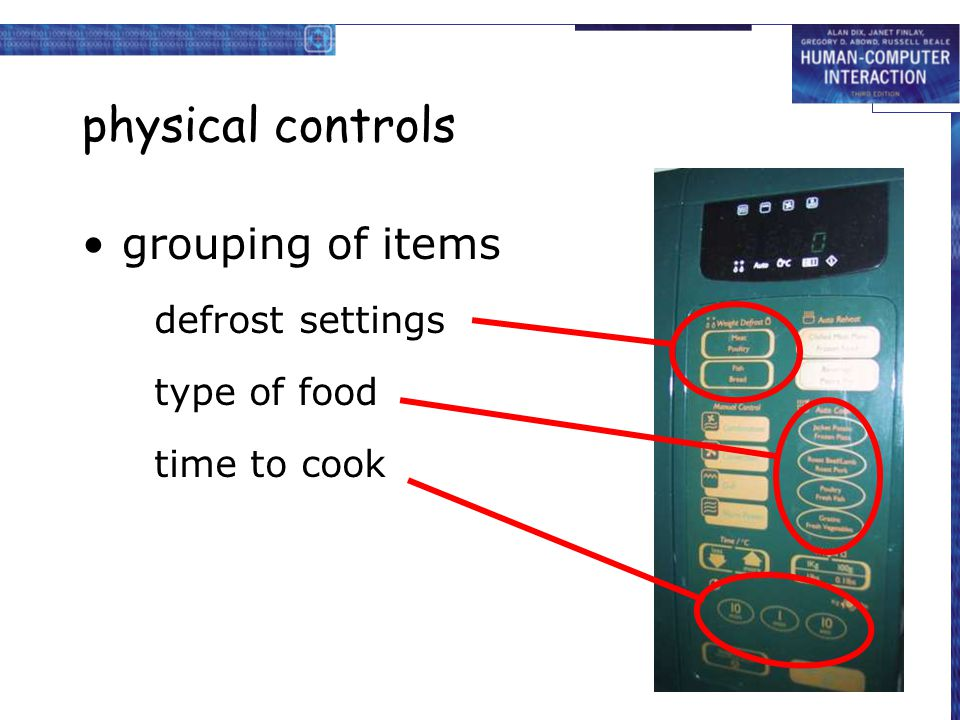 physical controls grouping of items defrost settings type of food