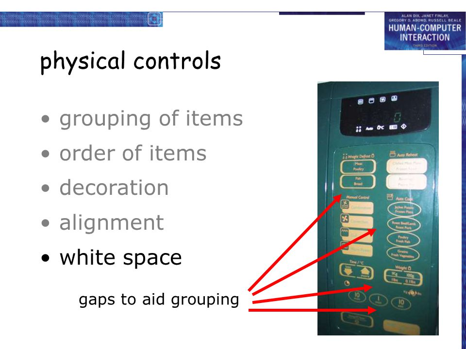 physical controls grouping of items order of items decoration