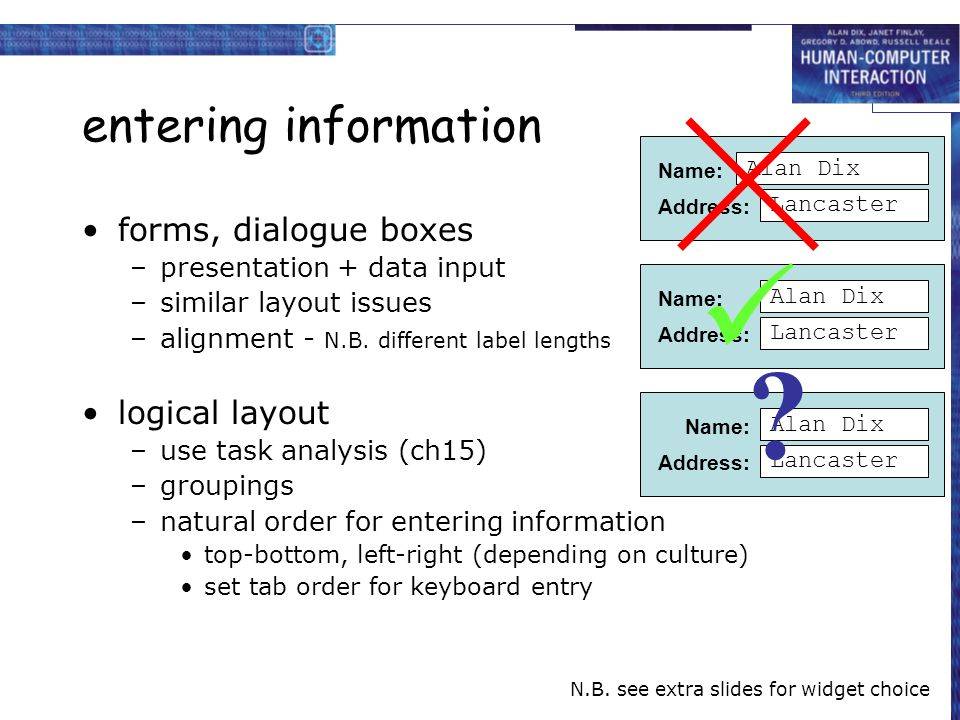  entering information forms, dialogue boxes logical layout