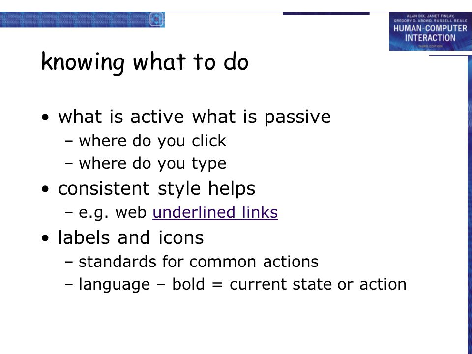 knowing what to do what is active what is passive