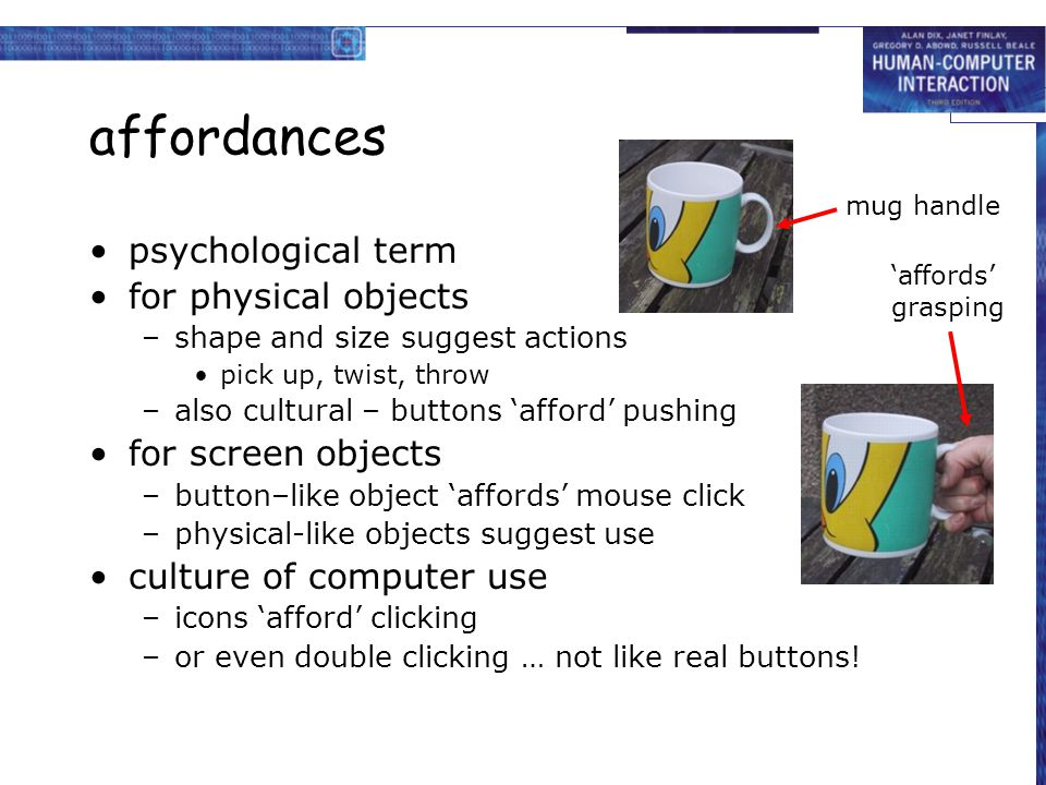 affordances psychological term for physical objects for screen objects