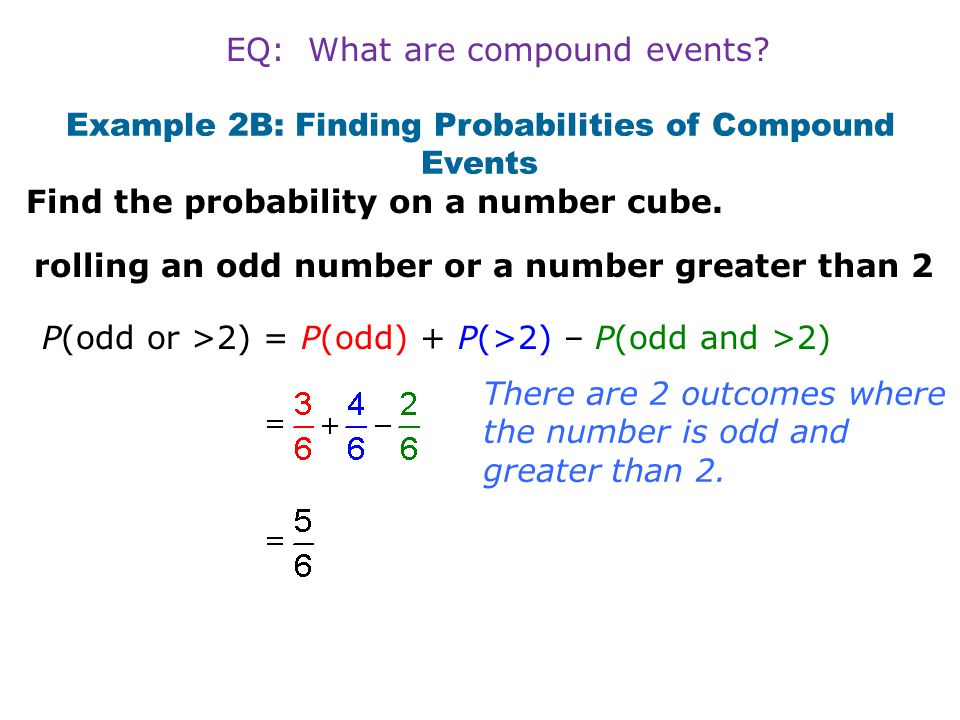 Example 2B: Finding Probabilities of Compound Events
