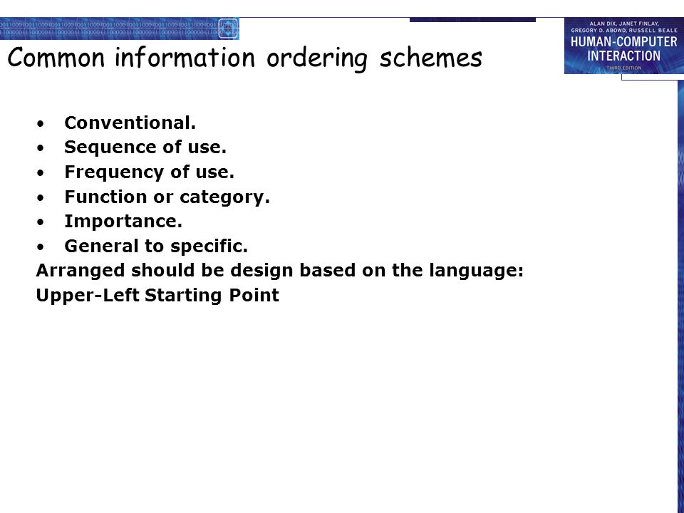 Common information ordering schemes