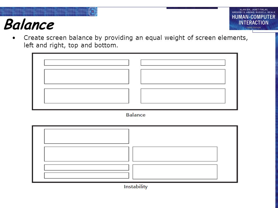 Balance Create screen balance by providing an equal weight of screen elements, left and right, top and bottom.
