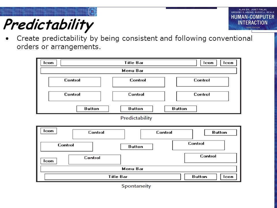 Predictability Create predictability by being consistent and following conventional orders or arrangements.