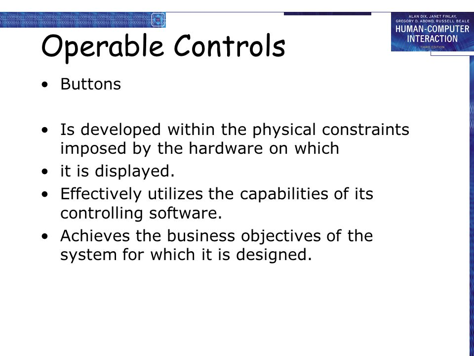 Operable Controls Buttons