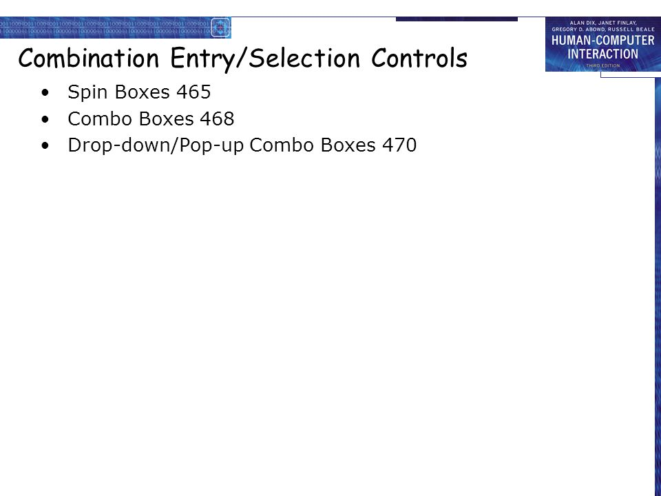 Combination Entry/Selection Controls