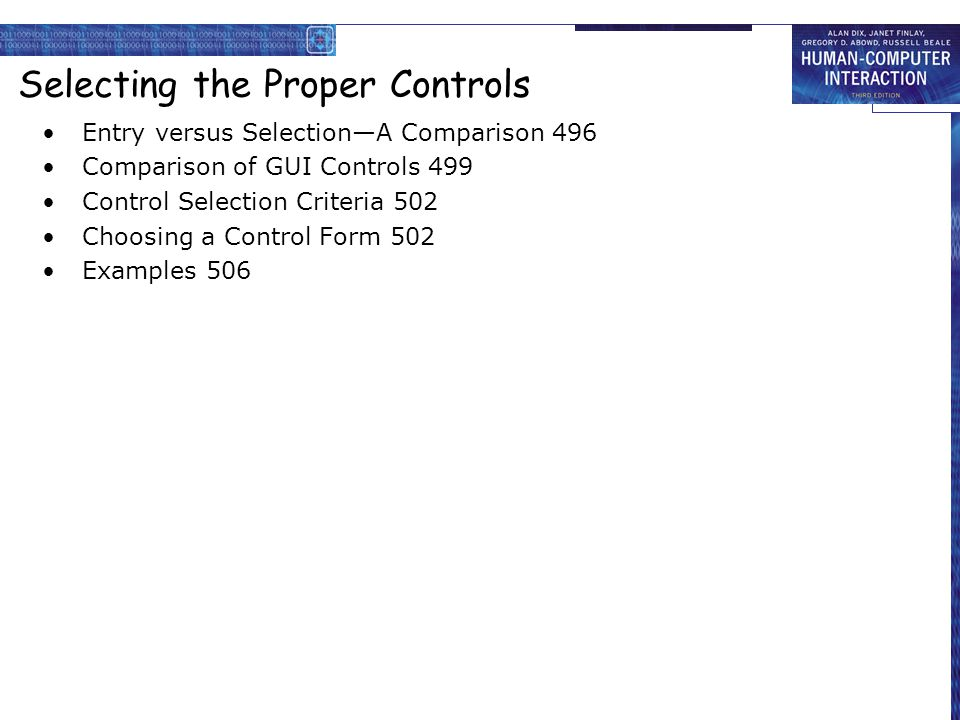 Selecting the Proper Controls