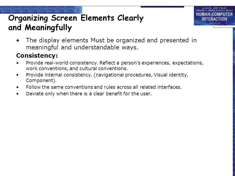 Organizing Screen Elements Clearly and Meaningfully