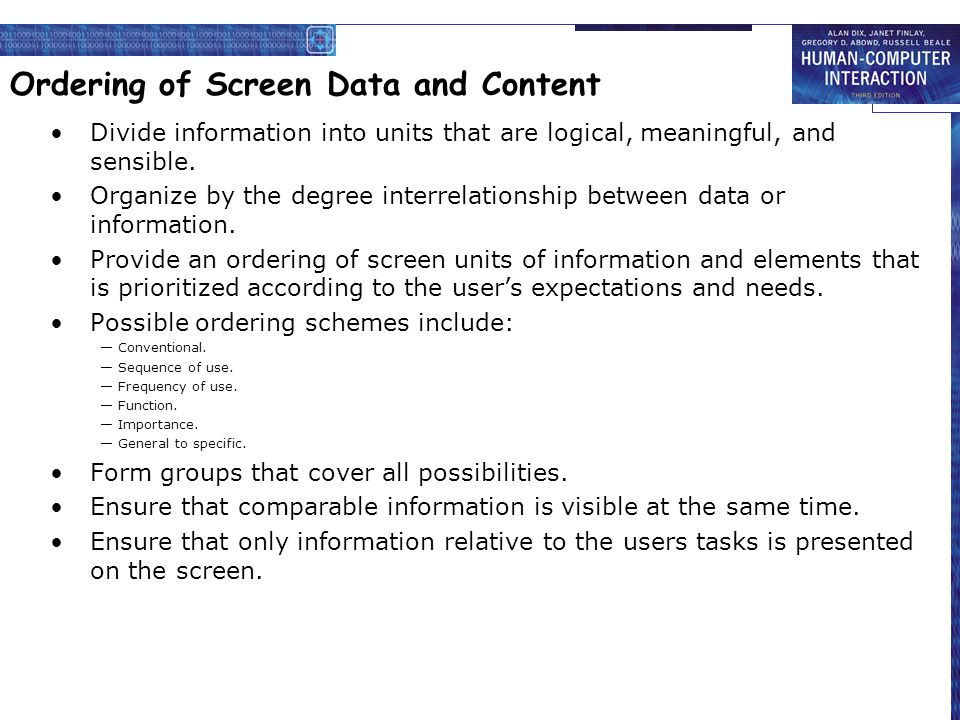 Ordering of Screen Data and Content