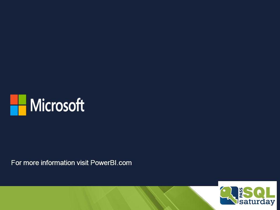 For more information visit PowerBI.com
