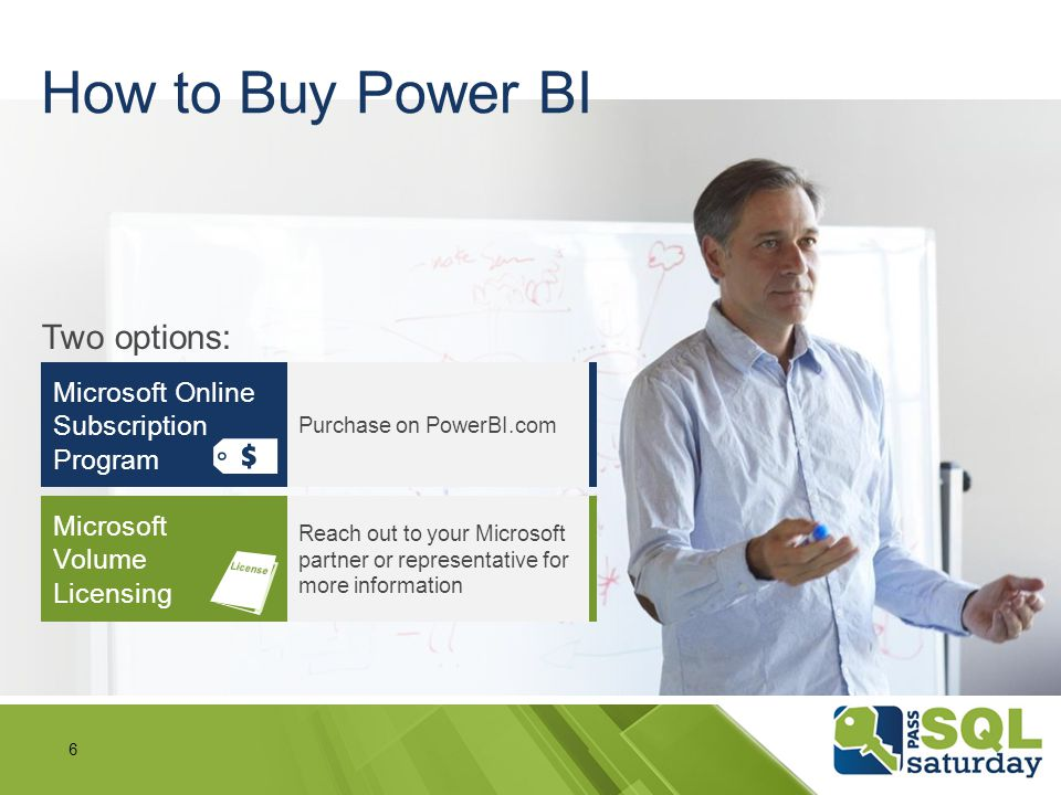 How to Buy Power BI Two options: Microsoft Online Subscription Program