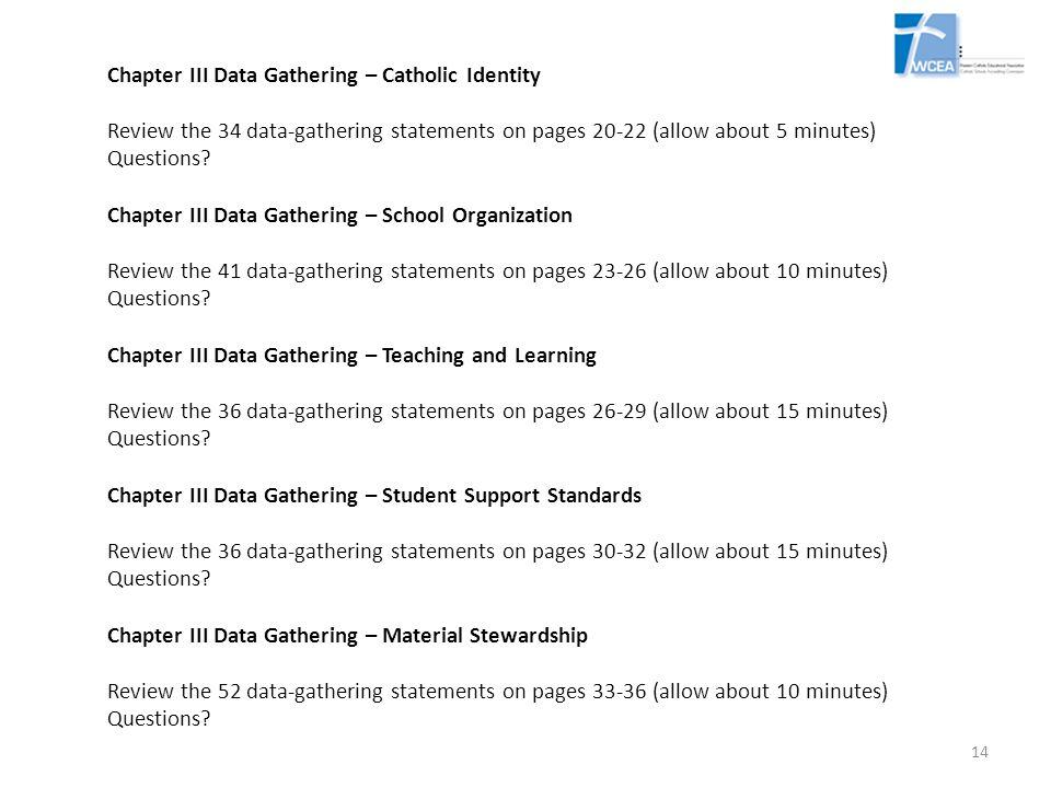 Chapter III Data Gathering – Catholic Identity