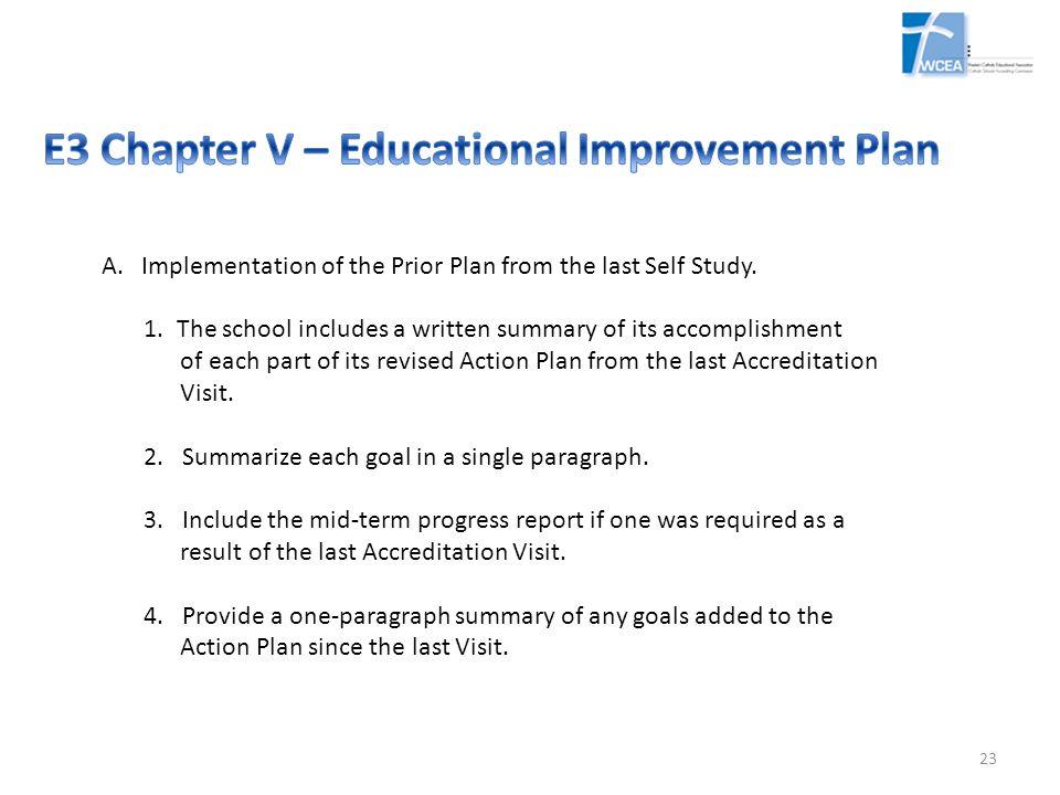 E3 Chapter V – Educational Improvement Plan