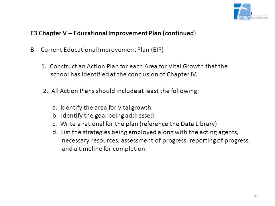 E3 Chapter V – Educational Improvement Plan (continued)