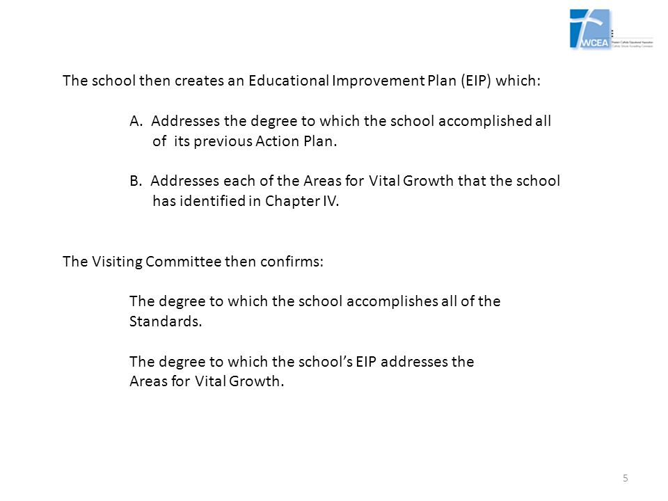 The school then creates an Educational Improvement Plan (EIP) which: