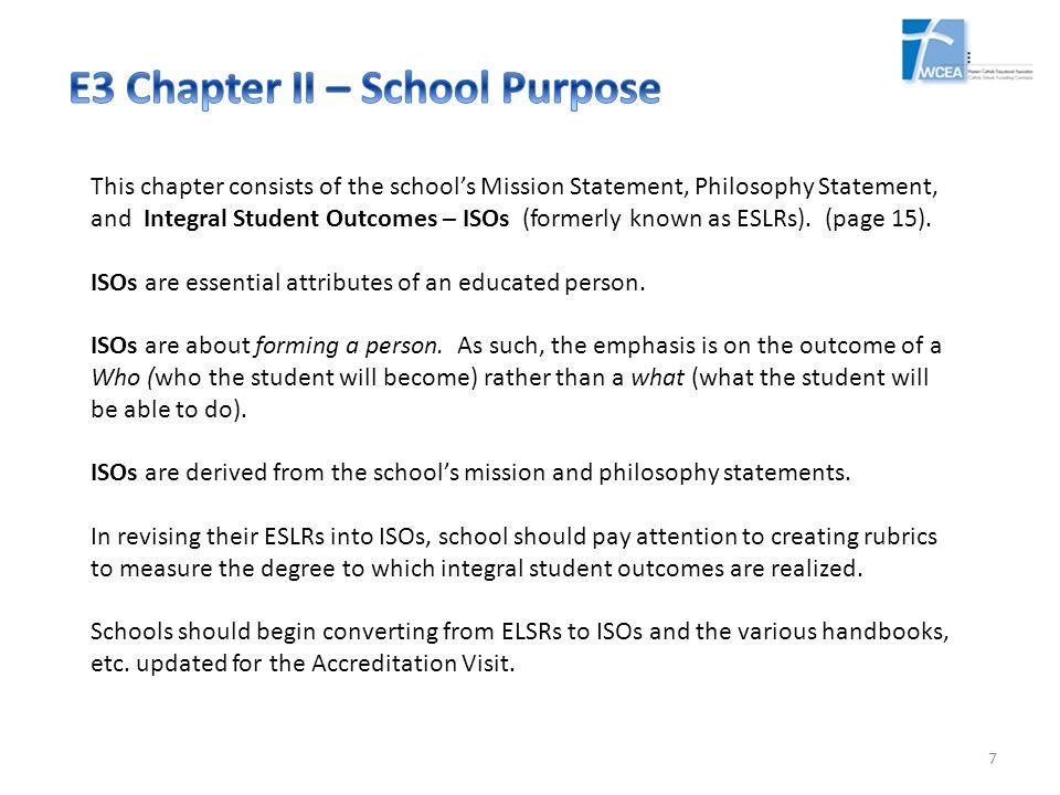 E3 Chapter II – School Purpose