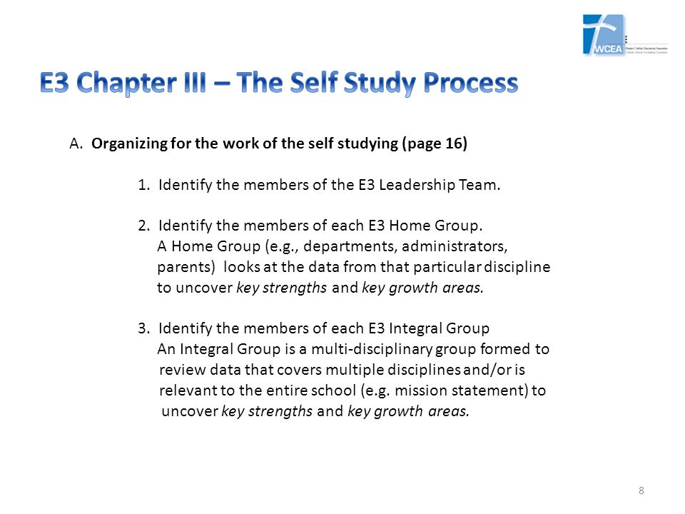 E3 Chapter III – The Self Study Process
