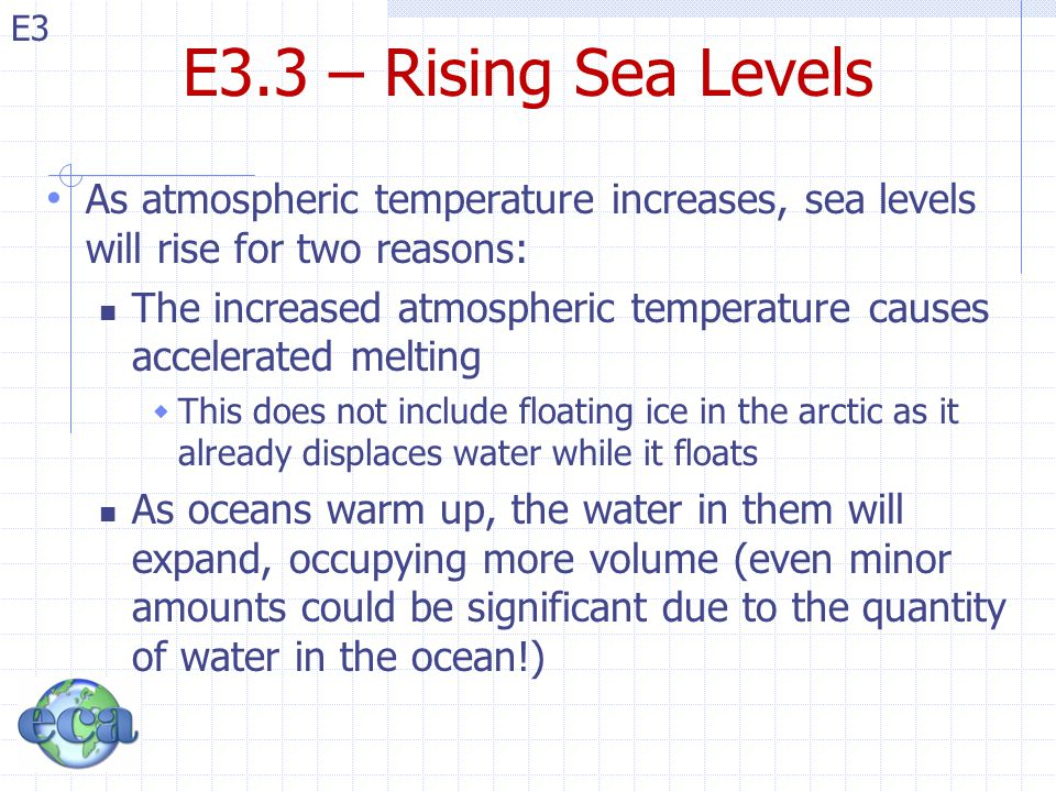 E3.3 – Rising Sea Levels As atmospheric temperature increases, sea levels will rise for two reasons: