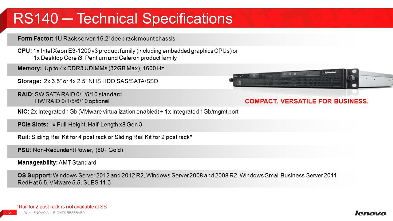 RS140 ─ Technical Specifications