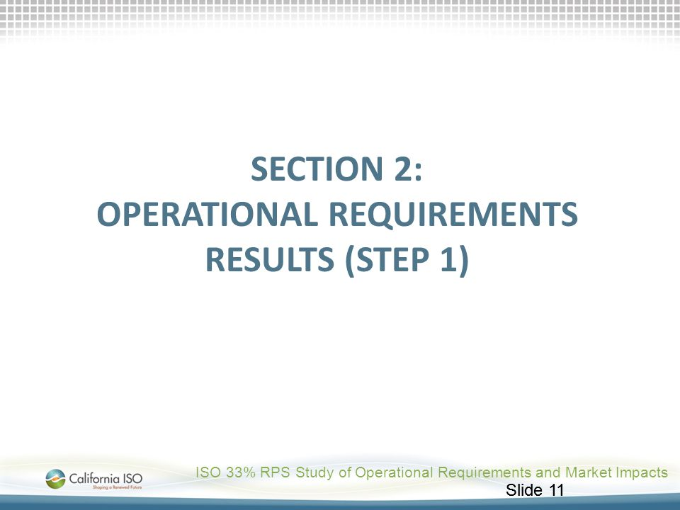 SECTION 2: Operational Requirements Results (STEP 1)