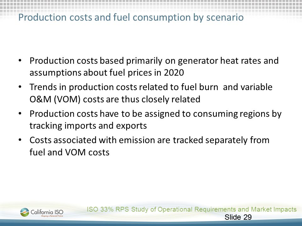 Production costs and fuel consumption by scenario