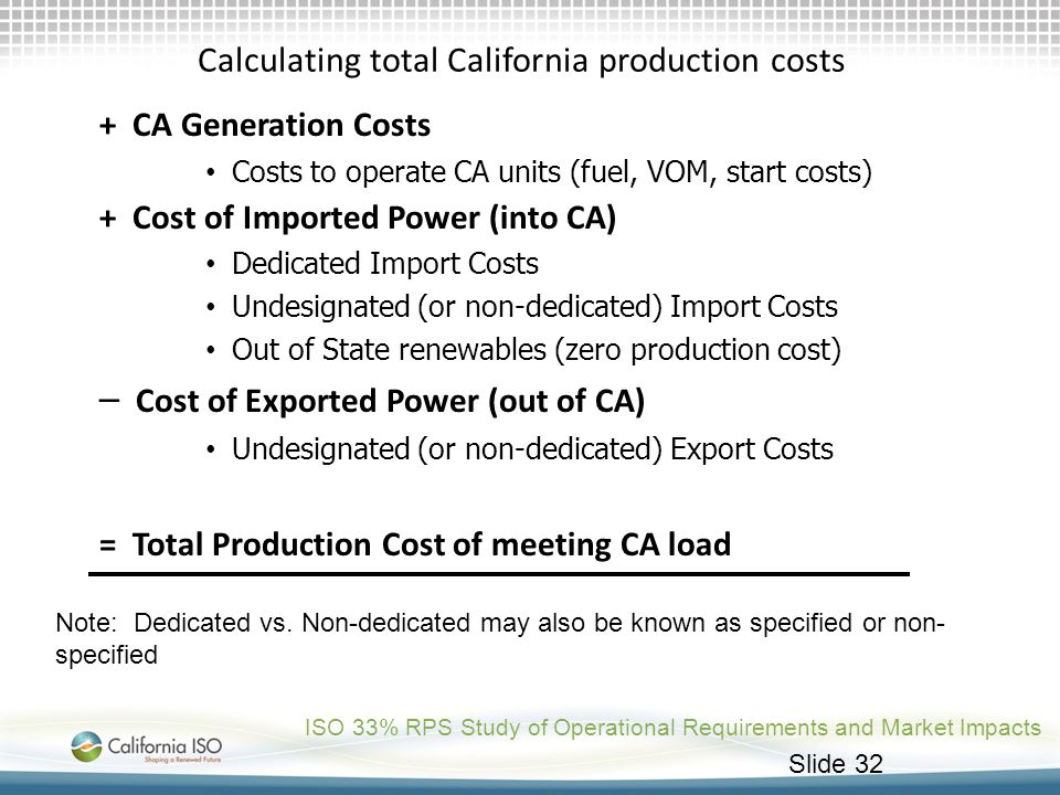 Calculating total California production costs