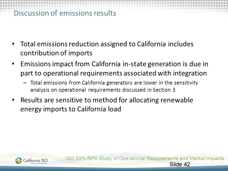 Discussion of emissions results