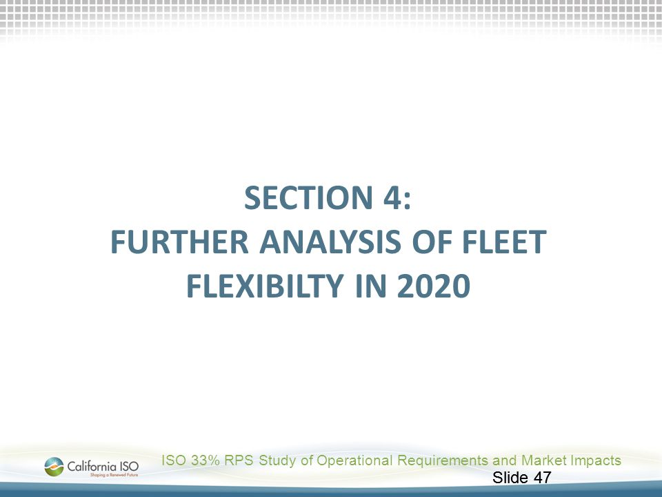 Section 4: further analysis OF FLEET FLEXIBILTY in 2020