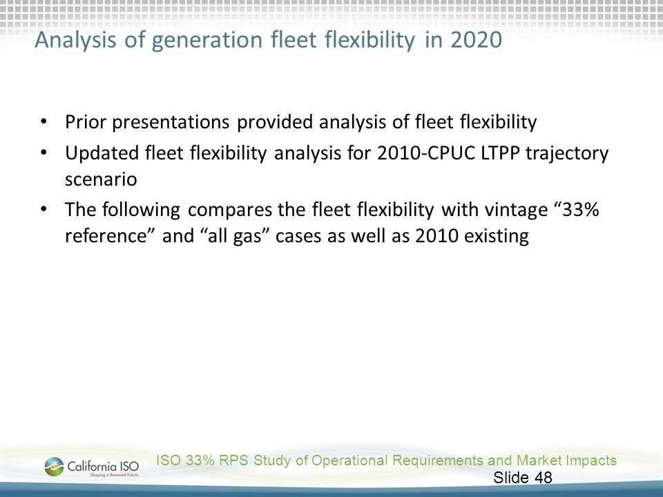 Analysis of generation fleet flexibility in 2020