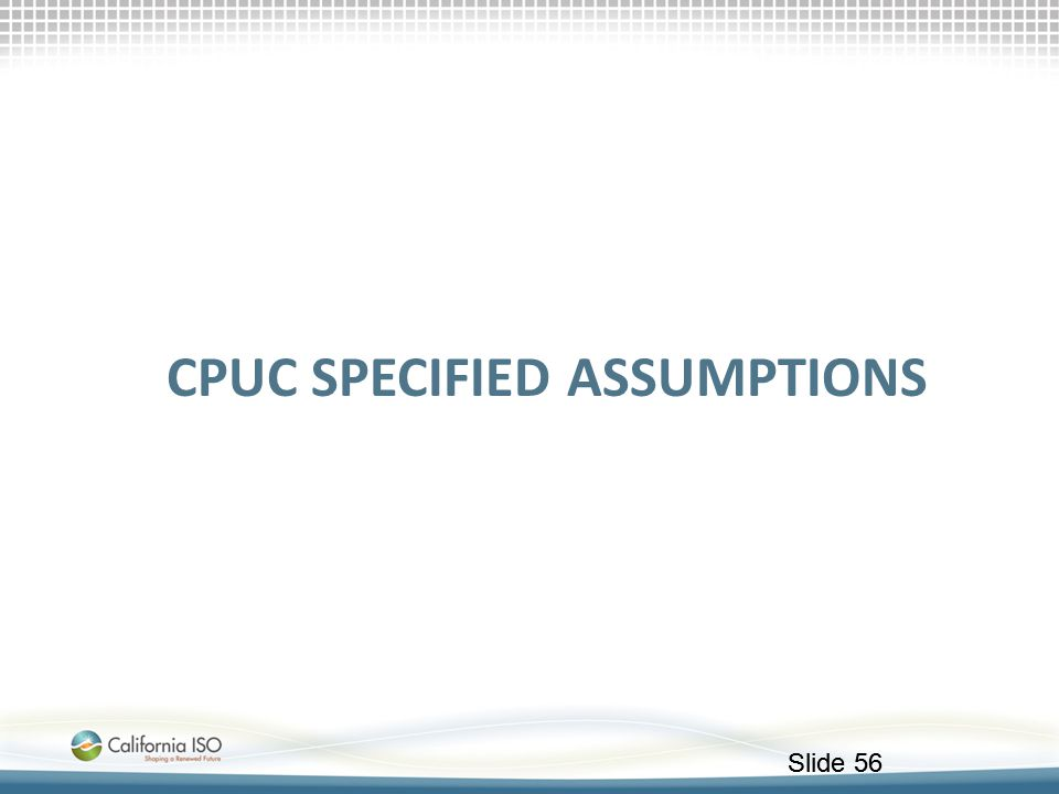 Cpuc specified assumptions