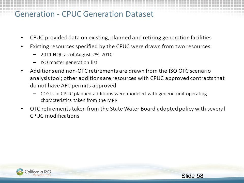 Generation - CPUC Generation Dataset