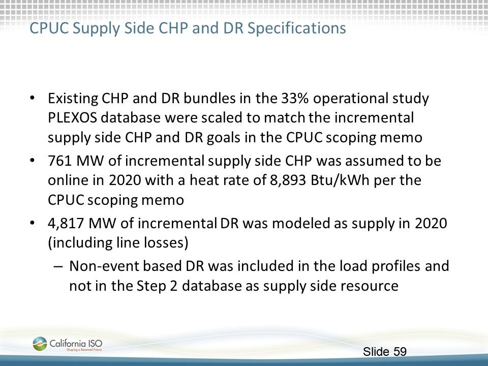 CPUC Supply Side CHP and DR Specifications