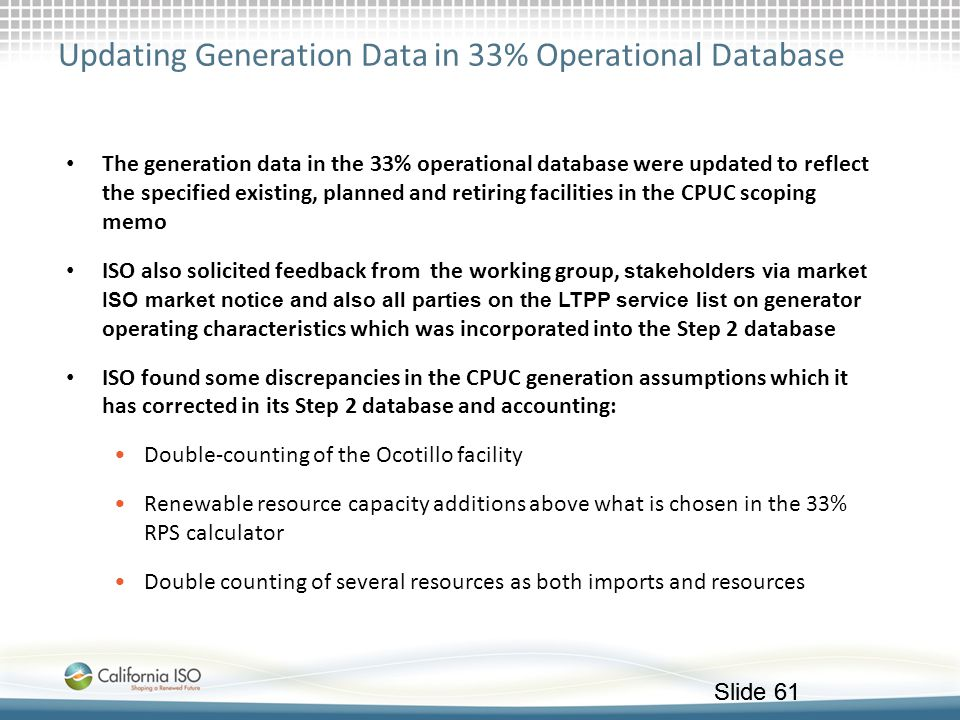 Updating Generation Data in 33% Operational Database