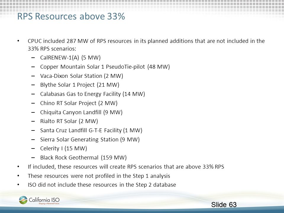 RPS Resources above 33% CPUC included 287 MW of RPS resources in its planned additions that are not included in the 33% RPS scenarios: