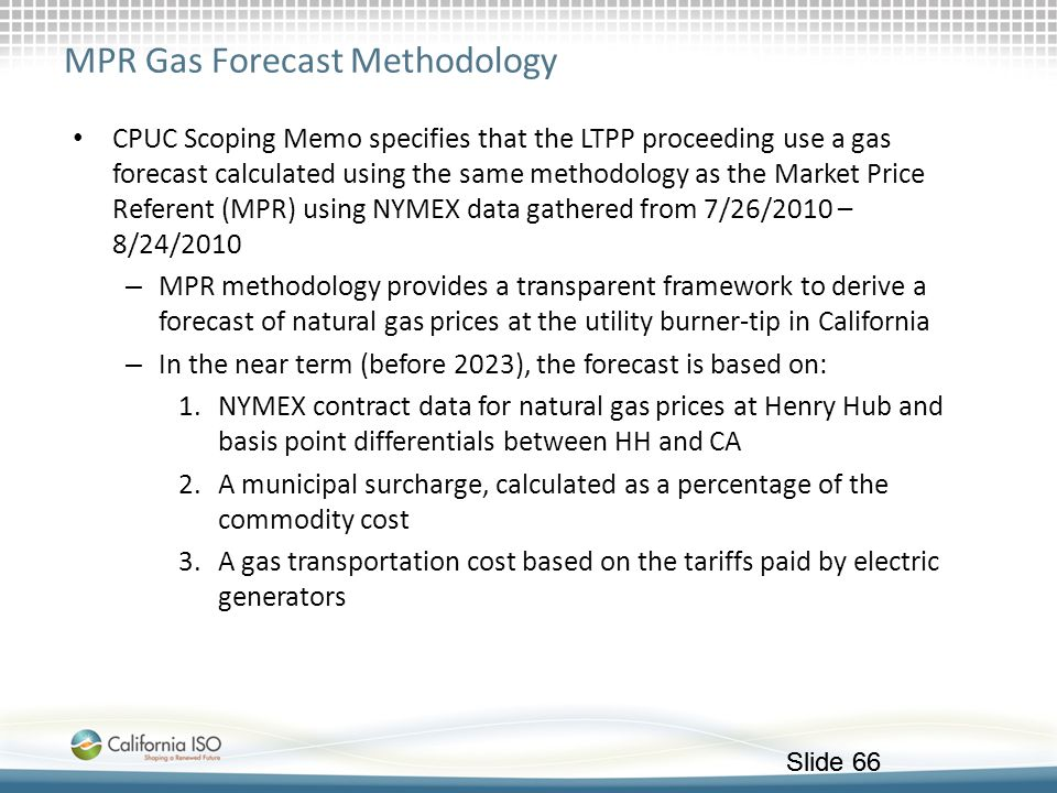 MPR Gas Forecast Methodology